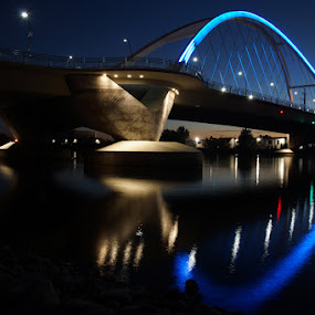 Lowry Bridge Reflection by Susan Fries - Buildings & Architecture Bridges & Suspended Structures ( water, lights, reflection, waterscape, bridge,  )