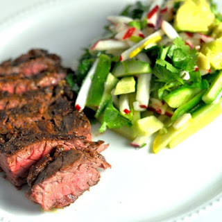 Spice Rubbed Skirt Steak and Jicama Chopped Salad - Low Carb, Gluten-Free.
