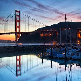 Golden Gate Reflection over Horseshoe Bay by Terry Scussel - Buildings & Architecture Bridges & Suspended Structures ( pwcbridges )