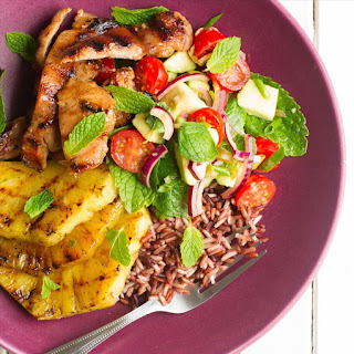 Mojito Chicken and Wild Rice Salad with Grilled Pineapple.
