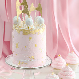 Pink Champagne and Gold Leaf Layer Cake (and Cupcakes!) Recipe