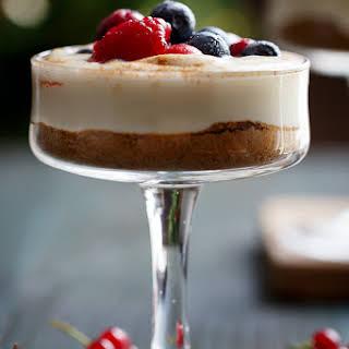 No Bake EggNog Berry Cheesecakes.