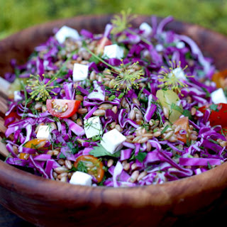 Rye Berry Salad with Red Cabbage, Feta, and Dill