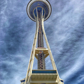Seattle Space Needle by Mary Waters - Buildings & Architecture Architectural Detail ( space needle, seattle, landmark, architecture, tower )