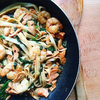 Shrimp and Salmon Noodles.