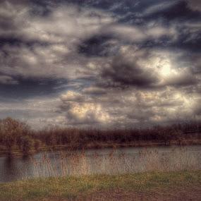 Cloudy over Lake by Nat Bolfan-Stosic - Uncategorized All Uncategorized ( clouds, peaceful, sky, lake, storm )