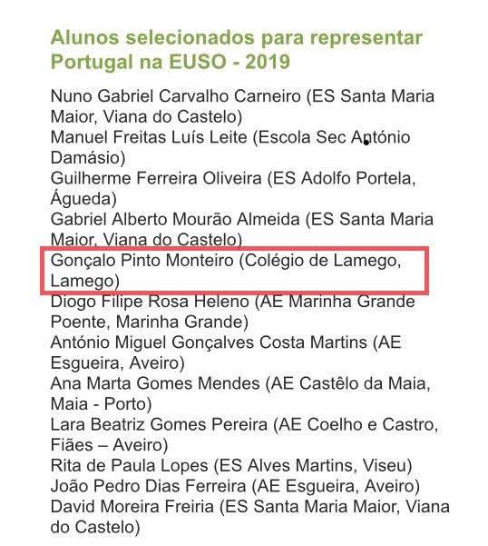Aluno do Colégio de Lamego arrecada medalha nas Olimpíadas Europeias da Ciência