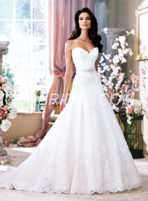 Elegant A-Line Sweetheart Floor-Length Lace Wedding Dress (11109322)