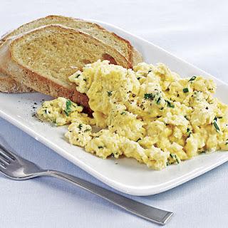Mascarpone Scrambled Eggs with Garlic Toasts.