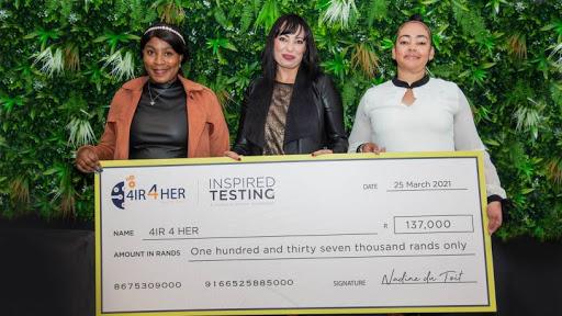 Vinolia Dlamini, Executive Director, 4IR 4 HER, Nadine du Toit, Managing Executive: Africa at Inspired Testing and Gillian Watkins, Executive Director, 4IR 4 HER.