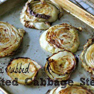 Garlic Rubbed Roasted Cabbage Steaks.