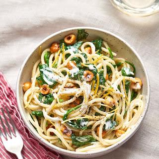 Spaghetti with Mascarpone, Meyer Lemon, Spinach, and Hazelnuts Recipe