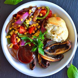 Grilled Portobello Steak with Tomato Corn Relish