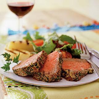 Beef Tenderloin with Mustard and Herbs