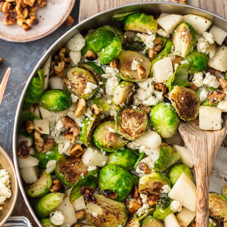 Pear and Blue Cheese Roasted Brussels Sprouts Recipe