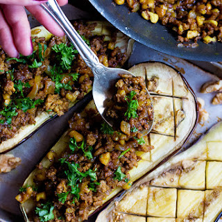 Stuffed Eggplant with Lamb and Walnuts.