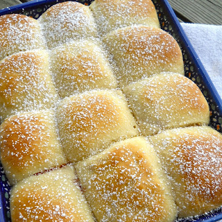 Traditional Czech Buchty – Sweet Buns filled with Rosehip Jam.