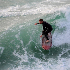 Between Green and White by DJ Cockburn - Sports & Fitness Surfing ( fistral bay, surf, surfer, england, britain, cornwall, wetsuit, surfing, recreation, fistral beach, sea, wave, ocean, uk, atlantic ocean, man, watersport, sport,  )