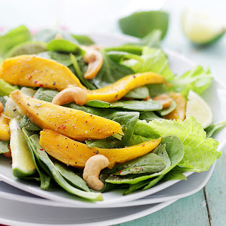 Mango Spinach Salad with Honey Lime Dressing.