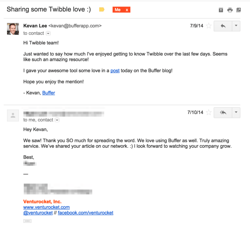 Buffer's email outreach to a company whose tool they mentioned in a blog. Showing how it can benefit content promotion.