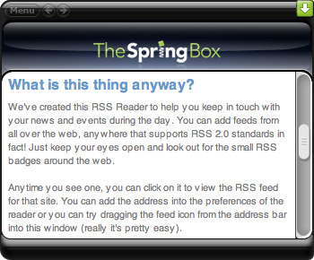 TheSpringBox RSS widget