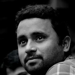 HE by प्रसाद जोशी - People Portraits of Men ( light monochrome face eyes )