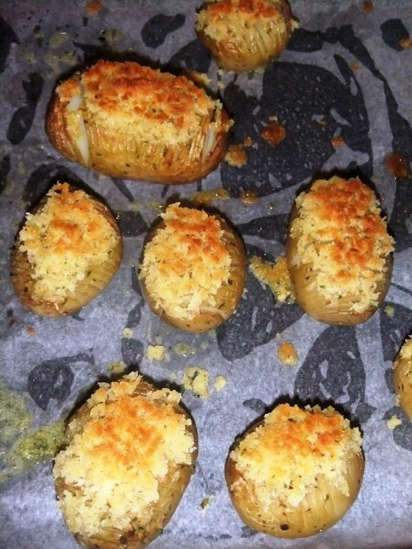 Grill potato tops for a few minutes until golden