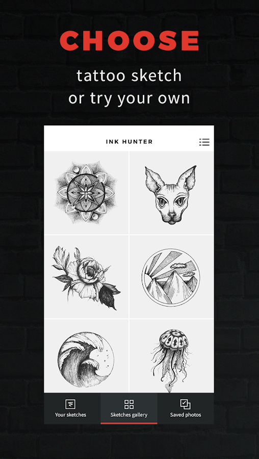 INKHUNTER - try tattoo designs: captura de pantalla