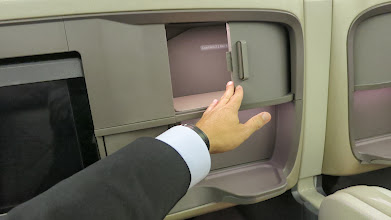 Photo: Nooks for your stuff in business class Singapore Air's new B777-300ER