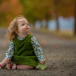 Tree lane child by Craig Lybbert - Babies & Children Toddlers ( baby girl, tree lane, fall colors, baby, 1 yearold, child )