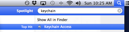 Open the Keychain Access on a Mac from Spotlight