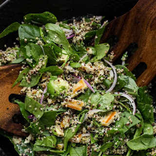 Halloumi Salad with Quinoa and Spinach Recipe