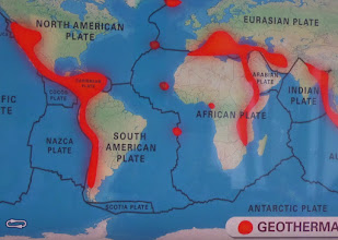 Photo: This map shows the location of the tectonic plates and geothermal hot spots. Iceland is at the top center. San Diego is on the San Andres fault between the Pacific and North American plates.
