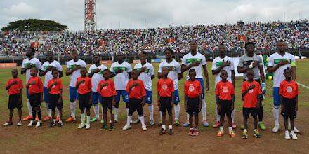 Photo: The Leone Stars - National Anthem [Leone Stars v Swaziland 31 May 2014, Photo © Darren McKinstry]