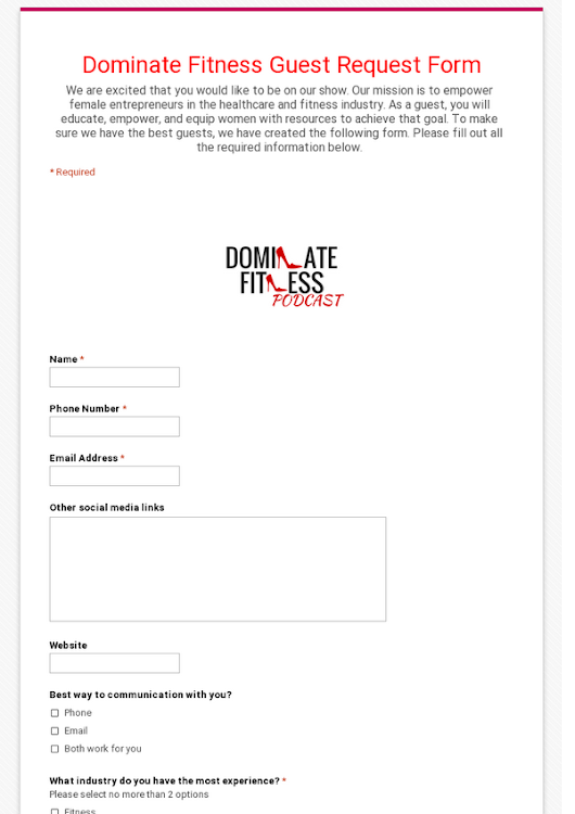 Dominate Fitness Guest Request Form