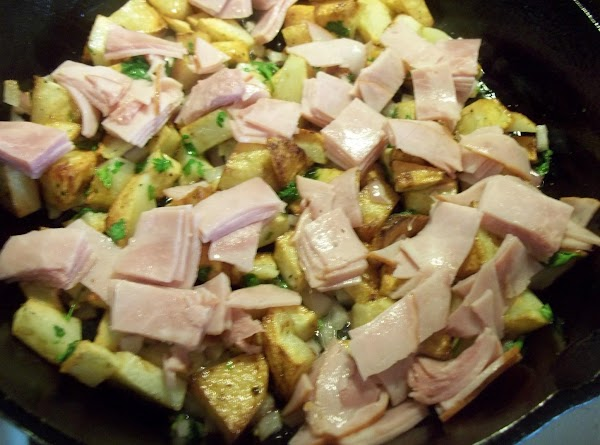 In a bowl, beat eggs, water, salt and pepper.  Add the ham to...