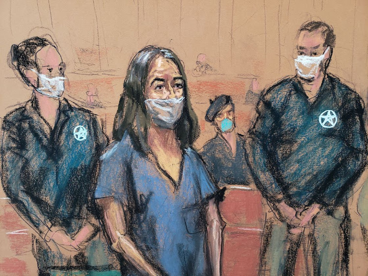 British socialite Ghislaine Maxwell appears during her arraignment hearing on a new indictment at Manhattan Federal Court in New York City, New York, US on April 23 2021 in this courtroom sketch.
