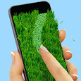 Lawnmower: writing on grass icon
