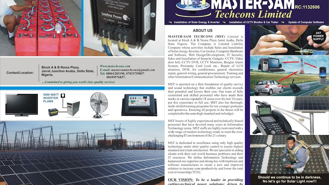 MASTER-SAM TECHNOLOGY COMPANY LTD - Solar Energy Company in Asaba