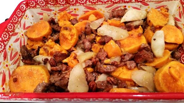~ Yum! Sweet Potatoes, Sausage & Apples ~ Recipe