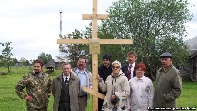 Закладной крест, установленный в Назино в память о жертвах 1933 года