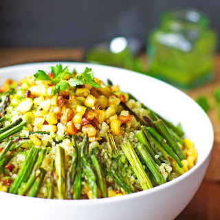 Charred Asparagus, Popped Corn & Quinoa Salad with Lemon Parsley Dressing.