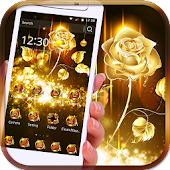 Rose Theme Golden Flowers Bowknot Shinning lively