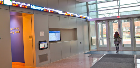 Photo: The stock ticker is displayed here in the Smeal Business Building at University Park campus.