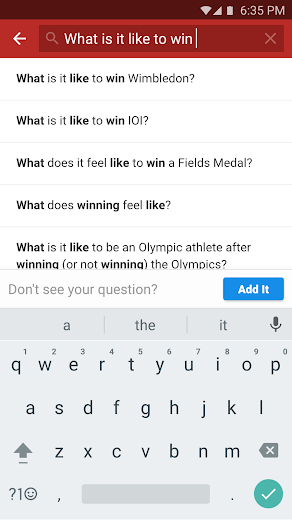 Screenshot 2 for Quora's Android app'
