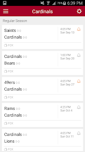 Football Schedule for Cardinals, Live Scores Stats - náhled