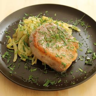 Sous Vide Boneless Pork Chops with Caramelized Fennel.