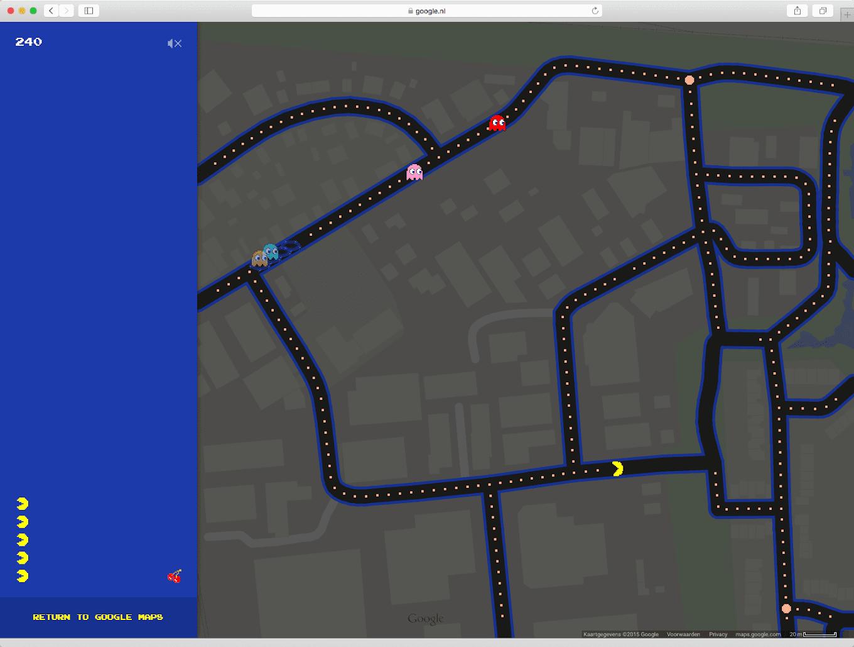 Pac-Man op Google Maps in Matenhoek (Apeldoorn)