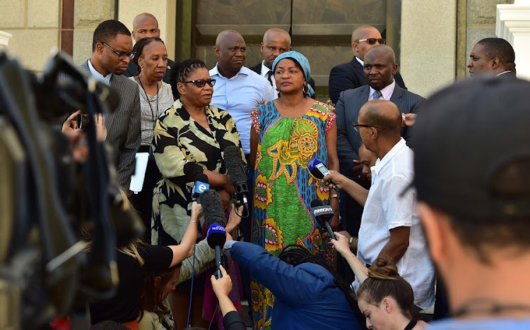 Parliament Speaker Baleka Mbete and NCOP Chairperson Thandi Modise addressing the media. Picture: ELMOND JIYANE