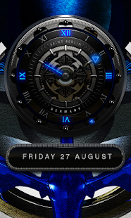 Blue Merlin HD Laser Analog Clock Widget Screenshot